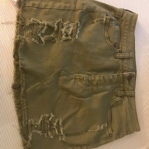 Army green American eagle denim skirt